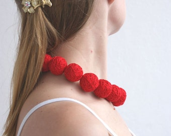 Red balls handmade beaded set - necklace and ring thread cotton for women fiber natural christmas