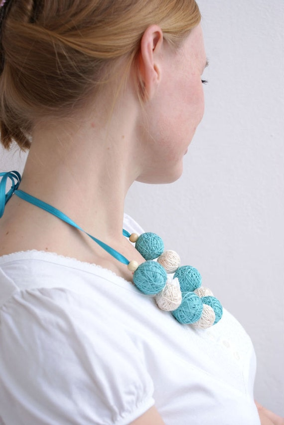 Blue long beads large necklace thread cotton for girls lace fiber wooden beads natural pastel white mint