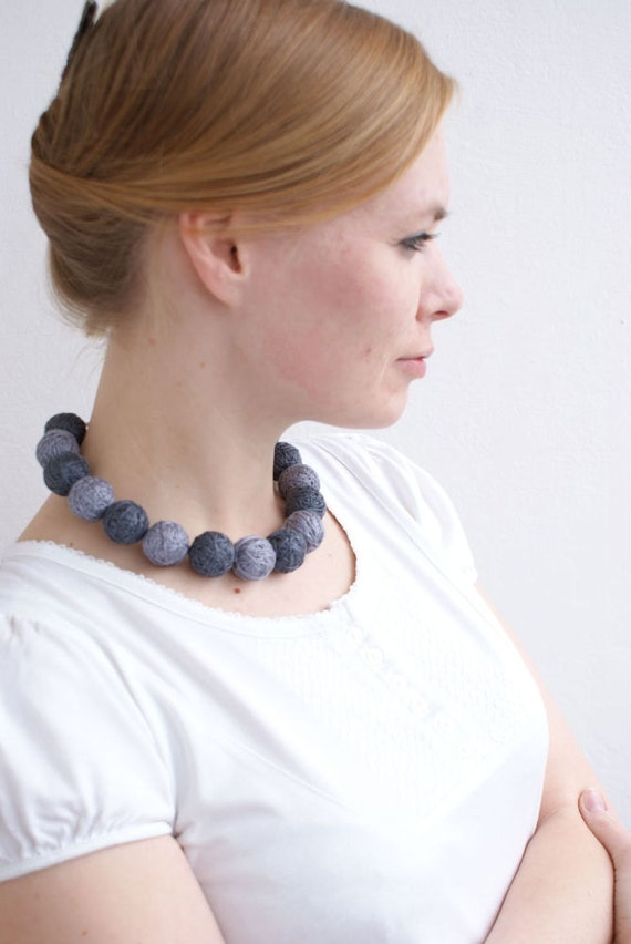 Grey short necklace beads of a thread cotton for women textile natural  toggl gray minimalism Geometry modern