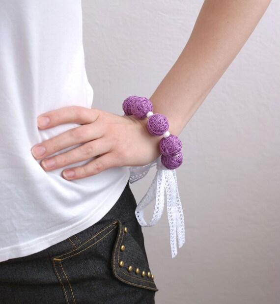 Lilac bracelete of a thread cotton for women lace textile natural white magenta violet purple