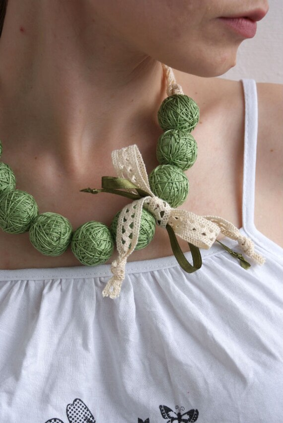 Green short beaded lace necklace balls thread cotton for women fiber natural summer woodland
