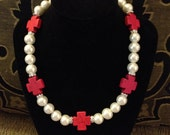 Beautiful Red Cross and Pearl Necklace with a touch of Rhinestones