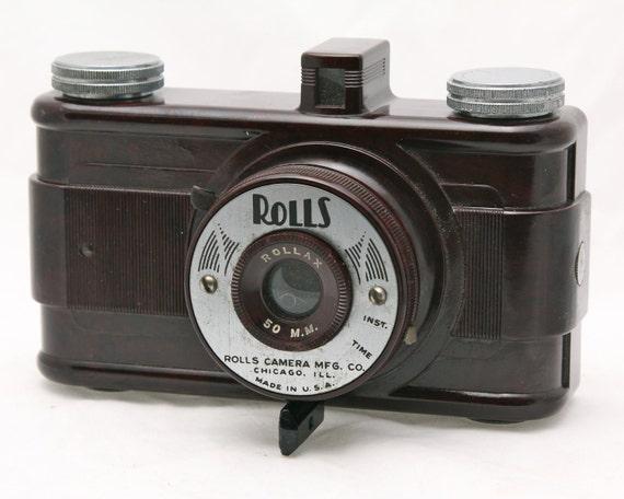 Vintage Bakelite Camera ROLLS ROLLAX 1930s Art Deco Design