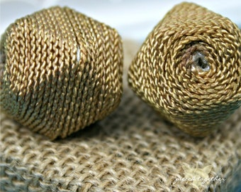 Handmade Woven Beads, Acrylic Bead covered with Fiber, Tan   - 4 pieces
