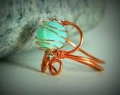 Copper wire wrapped ring Amazonite gemstone size 8 swirl seafoam green