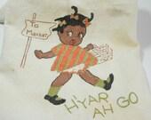 Rare Vintage Black Americana Dishtowel. Hand Painted and Embroidered