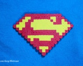 Superman Logo - Perler Beads - keychain, magnet, or necklace