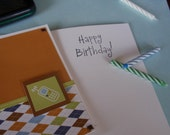 Retro Argyle  Birthday Card With Cell Phone Embellishment in Orange Brown Green and Blue