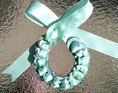 Mint Green, Blue, Green and White Plaid Washer Bow Bracelet