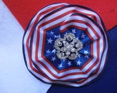 4th of July Red White Blue Brooch Pin Magnetic Clasp Hair Accessory Hairband Rhinestone Jewelry