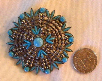 Vintage Mid Century Faux Turquoise and Silver Tone Pendant Pin set