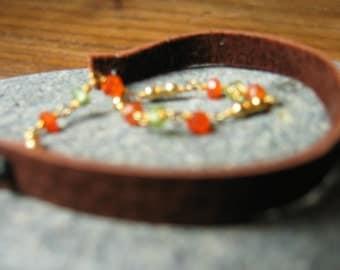 Carnelian Gold Deerskin Bracelet
