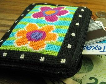 Cute Flowered Needlepoint Coin Purse