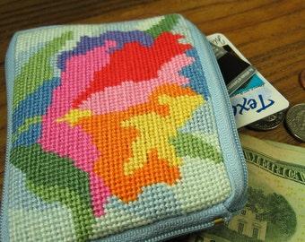 Pastel Flower Needlepoint Coin Purse