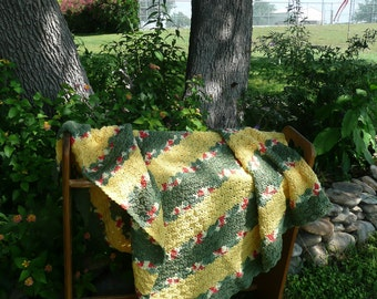 Wide-Striped Green and Yellow Crocheted Afghan