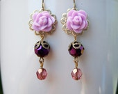 Simply sweet vintage style rose and glass bead dangle earrings