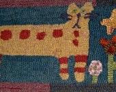 Cat Vermont Folk Rugs Hooked Rug Kit