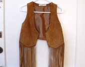 Suede Fringe Vest - Small / XS