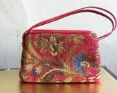 SALE MM Garland Tapestry Red Floral Carpet Bag