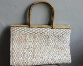 SALE Neutral Colored Straw Bag with Bamboo Handles