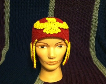 Red and Gold Captain Falcon beanie helmet (video game character cap, hat, crochet)