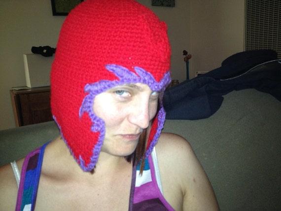 Red and Purple Helmet Beanie - villain - superhero - crocheted cap, hat (mutant powers)