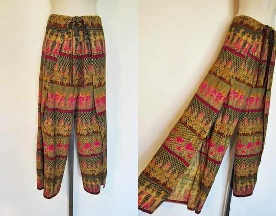Vintage 70s India CHARIOTS CAMELS Metallic Wrap Pants Wide Leg Gypsy Palazzo