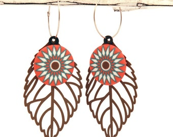 Starburst Leaf Drop Earrings - Orange, Brown & Teal