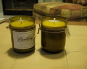 Two Upcycled Wine Bottle Soy Candles