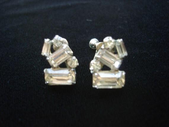 Vintage Emerald Cut Baguette Rhinestone Earrings