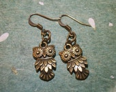 Owl earrings- small antique gold- Free Shipping