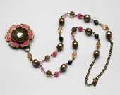 Vintage inspired beaded necklace with flower pendant