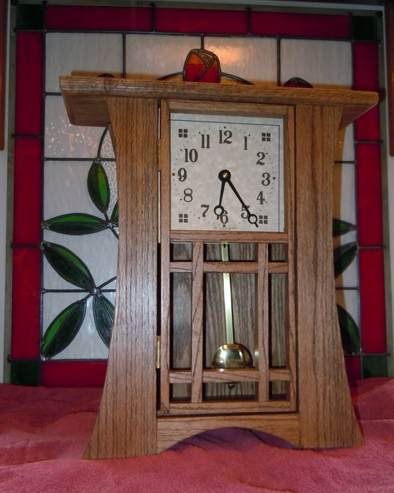 Mission arts and crafts shelf clock with by emmakatesdesigns for Small clocks for crafts