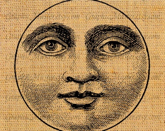 Moon Face Man In The Moon Printable Graphics Digital Collage Sheet Instant Download Image Iron On Transfer Fabric Cloth Tote Bags Pillows A5