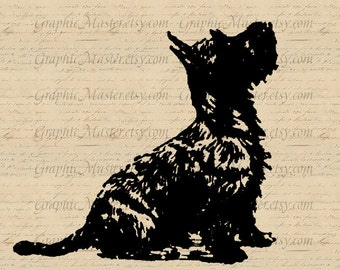Black Silhouette Puppy Clip Art Download Digital Collage Sheet Image Iron On Transfer Fabric Clothing Pillows Totes Burlap Tea Towels An91