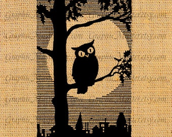 Halloween Silhouette Owl Tree Moon Collage Sheet Digital Image Download Iron On Transfer Pillows Tote Bags Tea Towels For Burlap Fabric Ha5