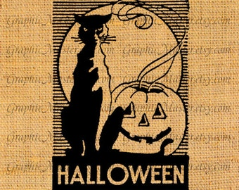 Halloween Pumpkin Cat Cats Silhouette Digital Collage Sheet Image Download Printable Iron On Transfer Cloth Pillows Tote Bags Tea Towels h19