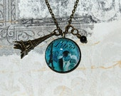 French Charm Necklace 'Midnight in Paris' - blue Modern Vintage love charm fashion