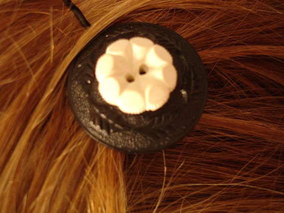 ON SALE Button Bobby Hair Pin Black with White Flower