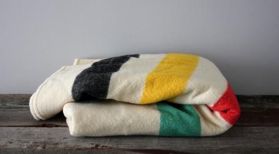 Wool Pendleton Style Stripe Blanket