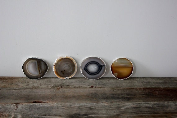 RESERVED FOR ALLISON---------------Silver Rimmed Agate Coasters