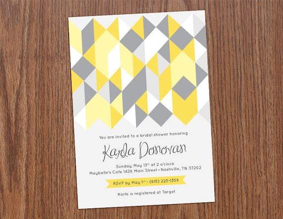 Geometric Bridal Shower Invitation : custom, printable 5X7 digital file