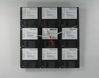 Handmade Upcycled Floppy Disc Wall Clock, Windows WorkGroups 3.1 DOS 6.22, Computers and Clocks