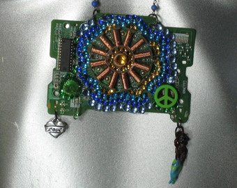 Womens Geekery Necklace made from repurposed floppy drive disc motor, Geekery, Clocks by DanO