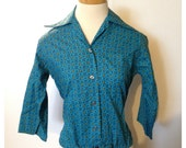 Vintage 1950s Cotton Rockabilly JD TUrner Toqs Blouse S-M