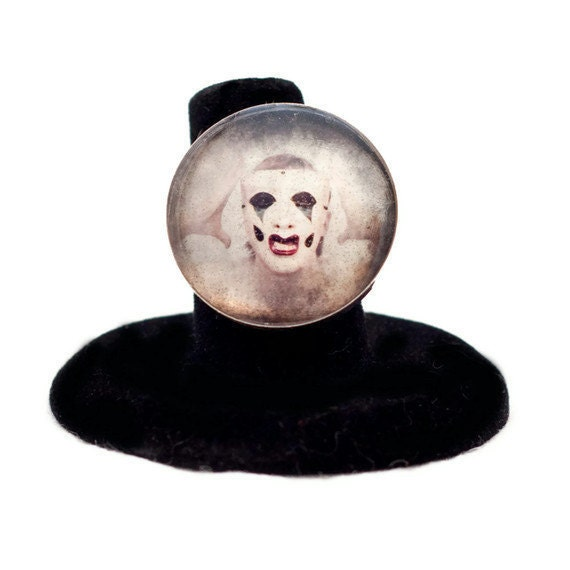 Adjustable Ring, Wearable Art, Scary Opera Clown, Dark Art Photo, Surreal Photograph, 1 inch round