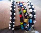 Silver beads macrame bracelet