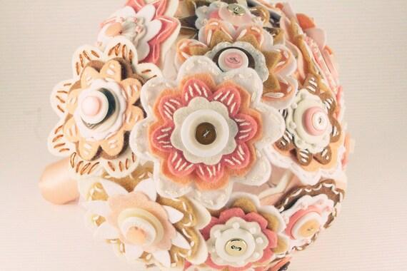 RESERVED Felt and button wedding bouquet. Caramel