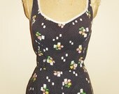 Reserved for Michelle - Vintage 1970s Dark Brown Polka Dot Floral Print Romper