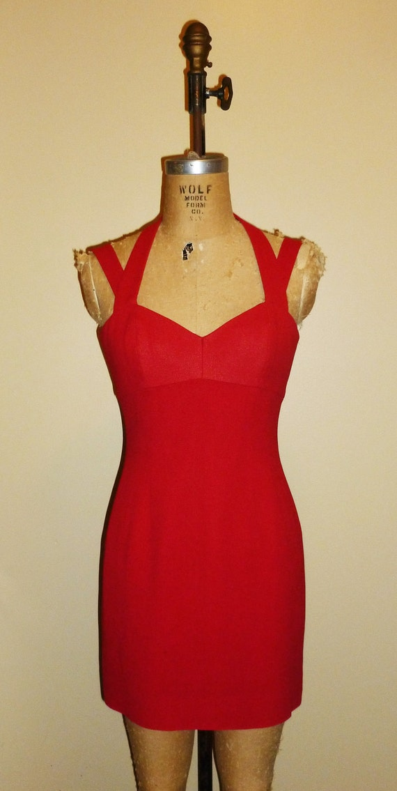 RESERVED FOR ALYSSA - Vintage 1980s Sexy Red Nicole Miller Mini Dress